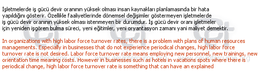 Personnel Selection Process in Human Resources Management tercüme örneği