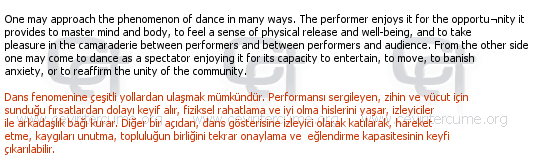 [Kitap] The Antropology of Dance tercüme örneği