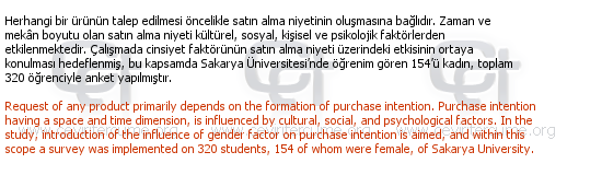Gender Influence on Purchase Intention tercüme örneği