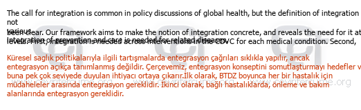 Implications for the Develeopment of a Health System tercüme örneği